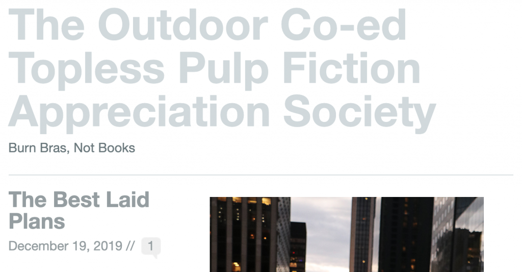 Nudist Blogs You Really want to Follow in 2020: The Outdoor Co-ed Topless Pulp Fiction Appreciation Society