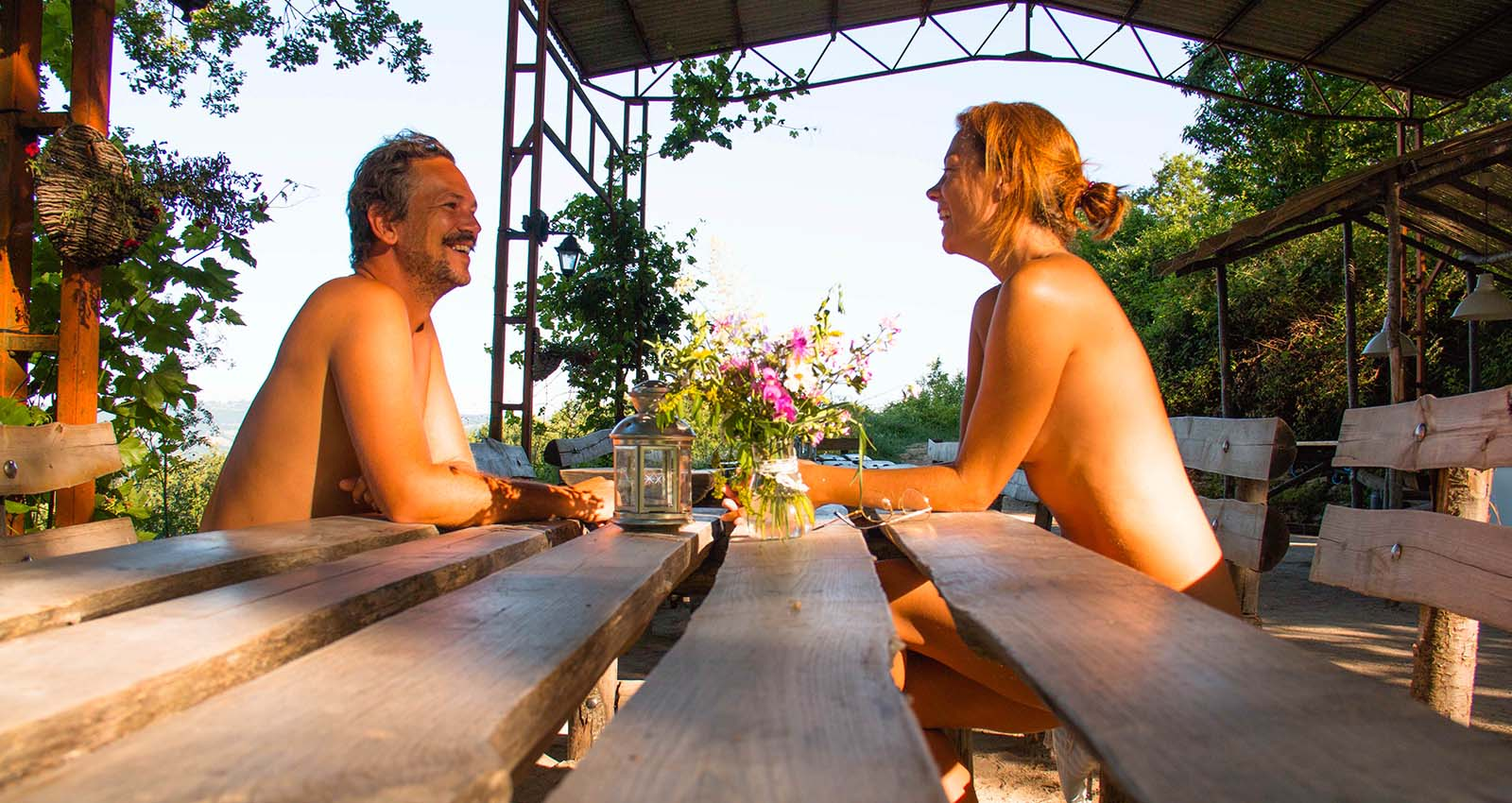 Why does the naturist get dressed for dinner?